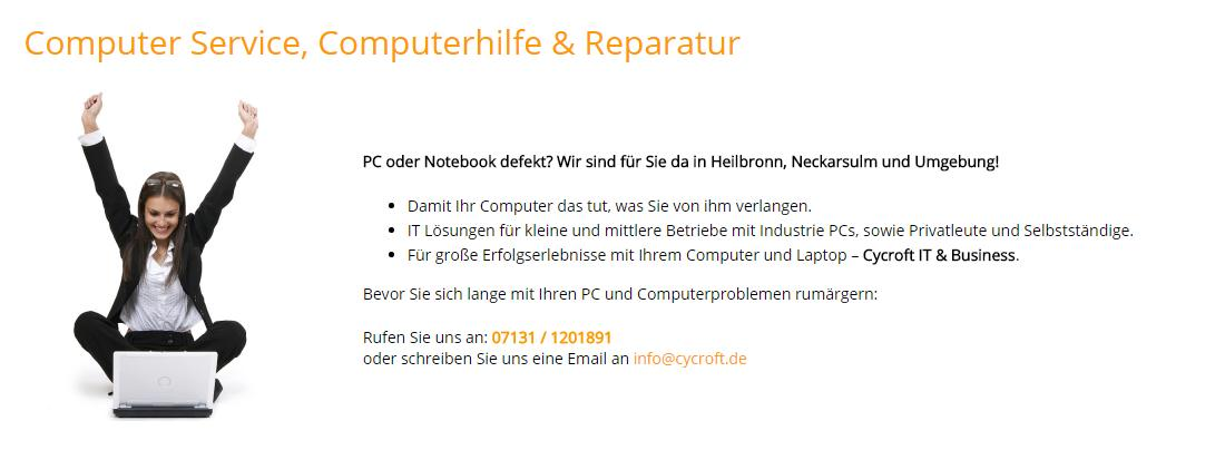 Computer Service für Neckarsulm - CYCROFT.de: IT Systemhaus, Werbeagentur, Internet Marketing, Googleoptimierung, Webdesign, Laptop Reparatur, Telefonanlagen